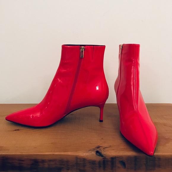 8690560180a8 Via Spiga Shoes   Killer Red Patent Kitten Heel Booties   Poshmark